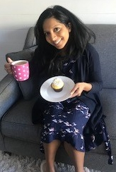 Enjoying tea and cake and hair styled by me! No more drains!